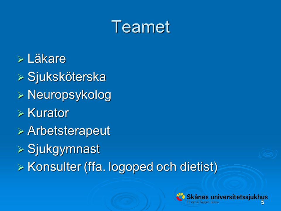 5 Teamet  Läkare  Sjuksköterska  Neuropsykolog  Kurator  Arbetsterapeut  Sjukgymnast  Konsulter (ffa.