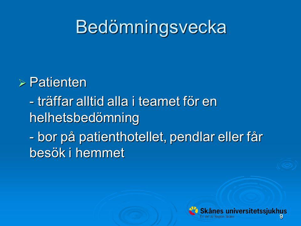 9 Bedömningsvecka  Patienten - träffar alltid alla i teamet för en helhetsbedömning - bor på patienthotellet, pendlar eller får besök i hemmet