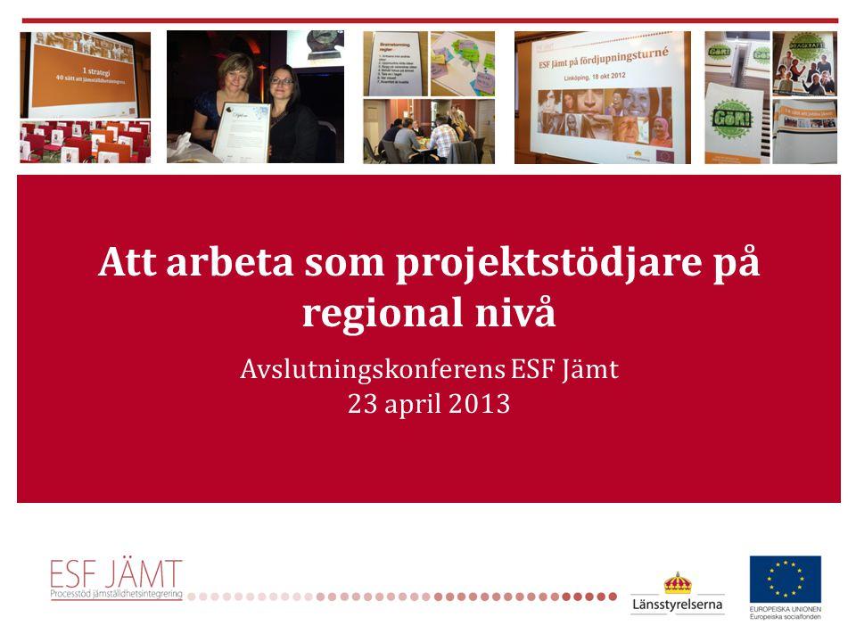 Att arbeta som projektstödjare på regional nivå Avslutningskonferens ESF Jämt 23 april 2013