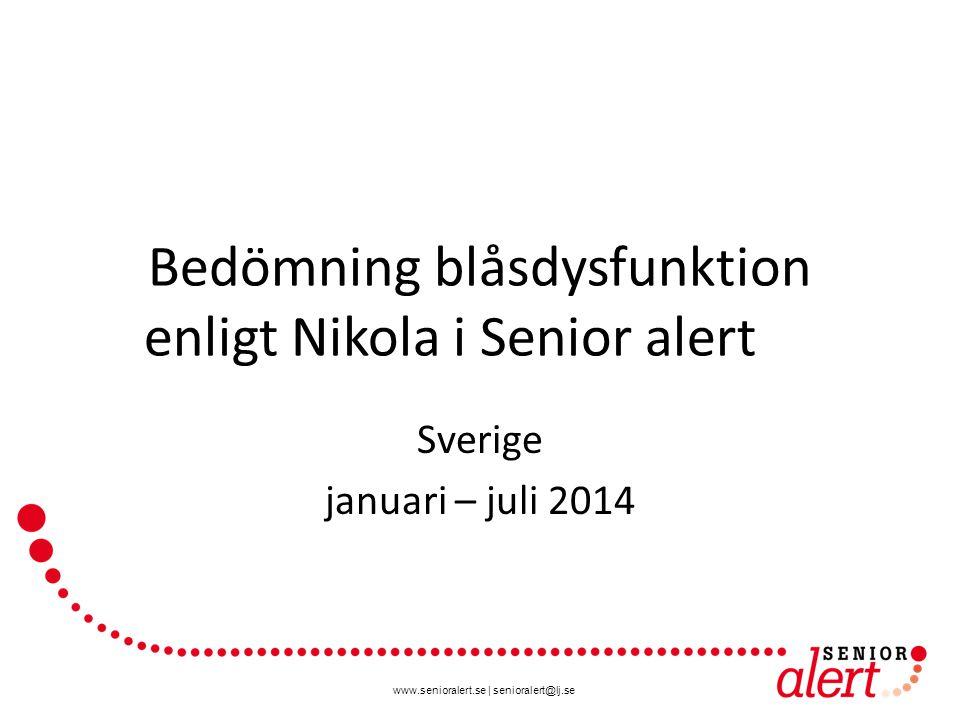 www.senioralert.se | senioralert@lj.se Bedömning blåsdysfunktion enligt Nikola i Senior alert Sverige januari – juli 2014
