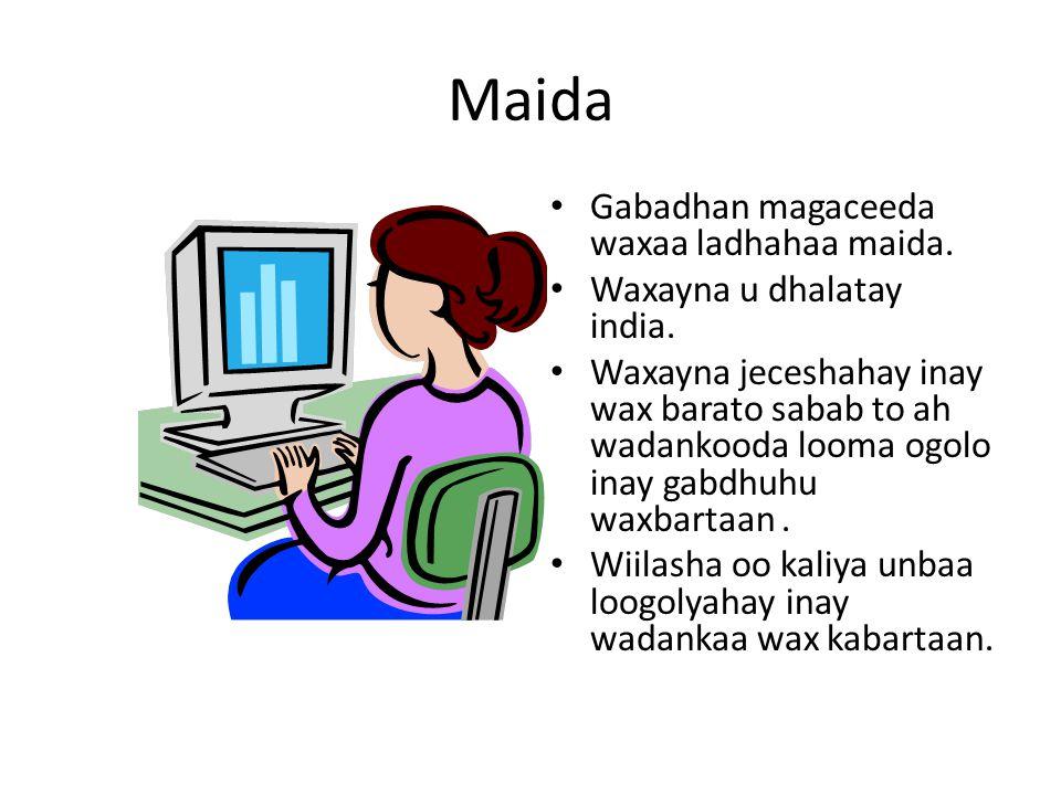 Maida Gabadhan magaceeda waxaa ladhahaa maida. Waxayna u dhalatay india. Waxayna jeceshahay inay wax barato sabab to ah wadankooda looma ogolo inay ga