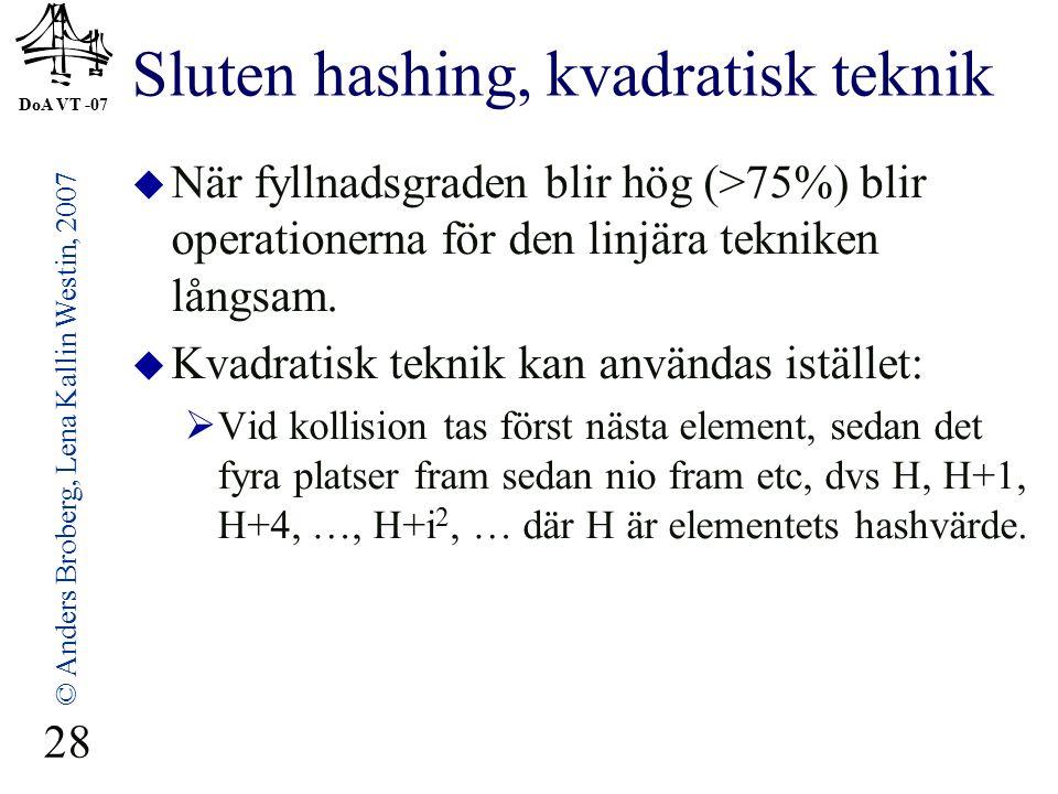 DoA VT -07 © Anders Broberg, Lena Kallin Westin, 2007 28 Sluten hashing, kvadratisk teknik  När fyllnadsgraden blir hög (>75%) blir operationerna för