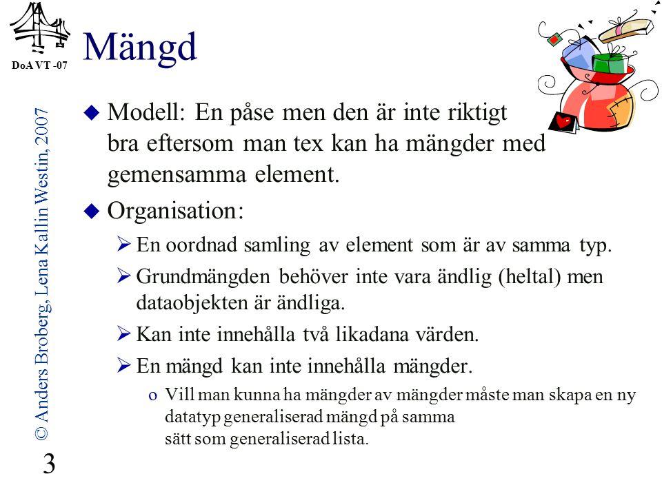 DoA VT -07 © Anders Broberg, Lena Kallin Westin, 2007 3 Mängd  Modell: En påse men den är inte riktigt bra eftersom man tex kan ha mängder med gemensamma element.