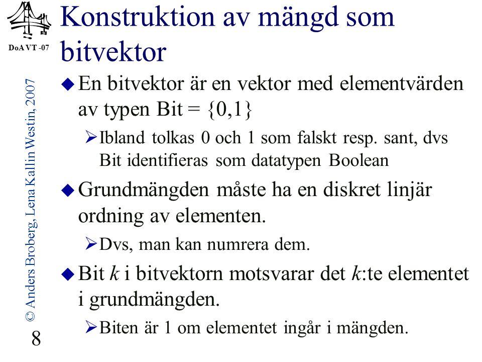 DoA VT -07 © Anders Broberg, Lena Kallin Westin, 2007 29 Ex: Sluten hashing, kvadratisk teknik  Sätt in talen 89, 18, 49, 58, 9 i en tabell med 10 platser.