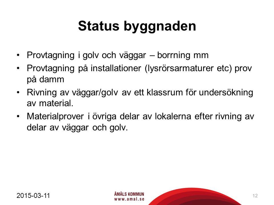 Status byggnaden Provtagning i golv och väggar – borrning mm Provtagning på installationer (lysrörsarmaturer etc) prov på damm Rivning av väggar/golv