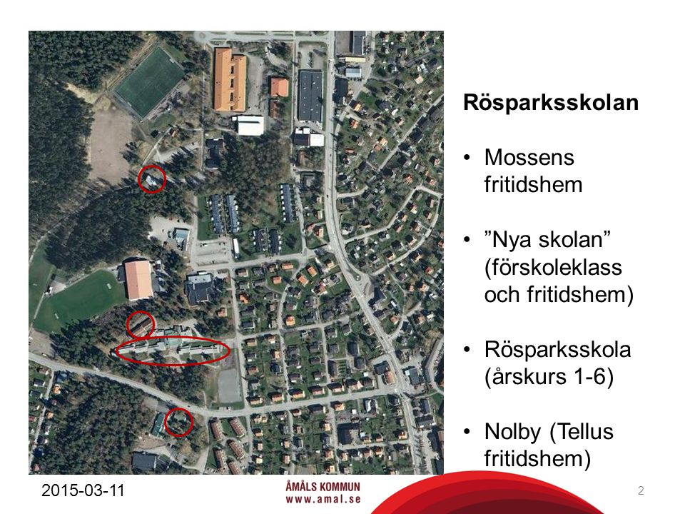 "Rösparksskolan Mossens fritidshem ""Nya skolan"" (förskoleklass och fritidshem) Rösparksskola (årskurs 1-6) Nolby (Tellus fritidshem) 2015-03-11 2"