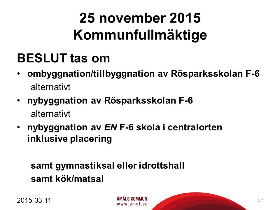 25 november 2015 Kommunfullmäktige BESLUT tas om ombyggnation/tillbyggnation av Rösparksskolan F-6 alternativt nybyggnation av Rösparksskolan F-6 alte