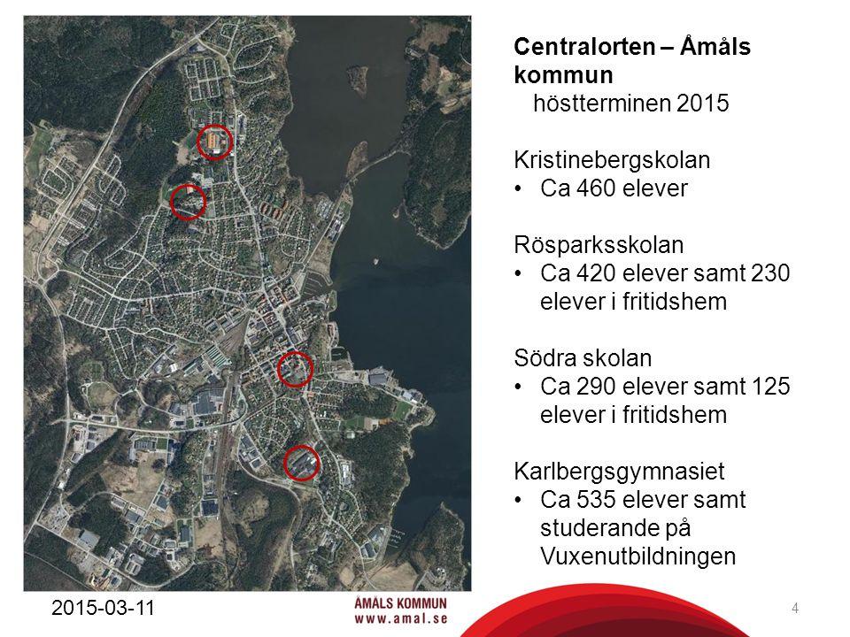 Centralorten – Åmåls kommun höstterminen 2015 Kristinebergskolan Ca 460 elever Rösparksskolan Ca 420 elever samt 230 elever i fritidshem Södra skolan
