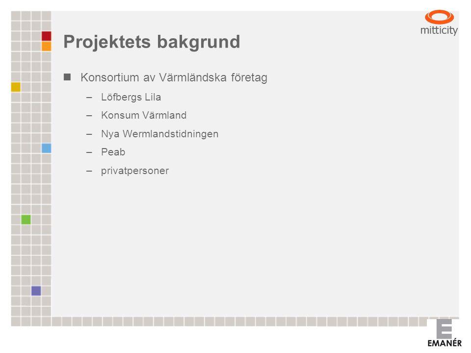 Projektets bakgrund Konsortium av Värmländska företag –Löfbergs Lila –Konsum Värmland –Nya Wermlandstidningen –Peab –privatpersoner