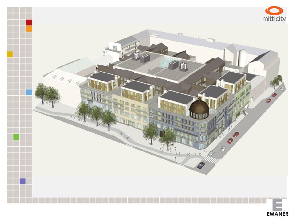 Projektets innehåll Garage, 400 p-platser Galleria, ca 55 butiker och restauranger Bostäder, 72 lägenheter BTA ca 40 000 kvm Total budget ca 800 milj.