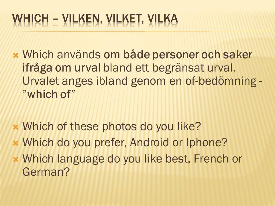  Det vanligaste frågepronomet.Används både om personer och saker.