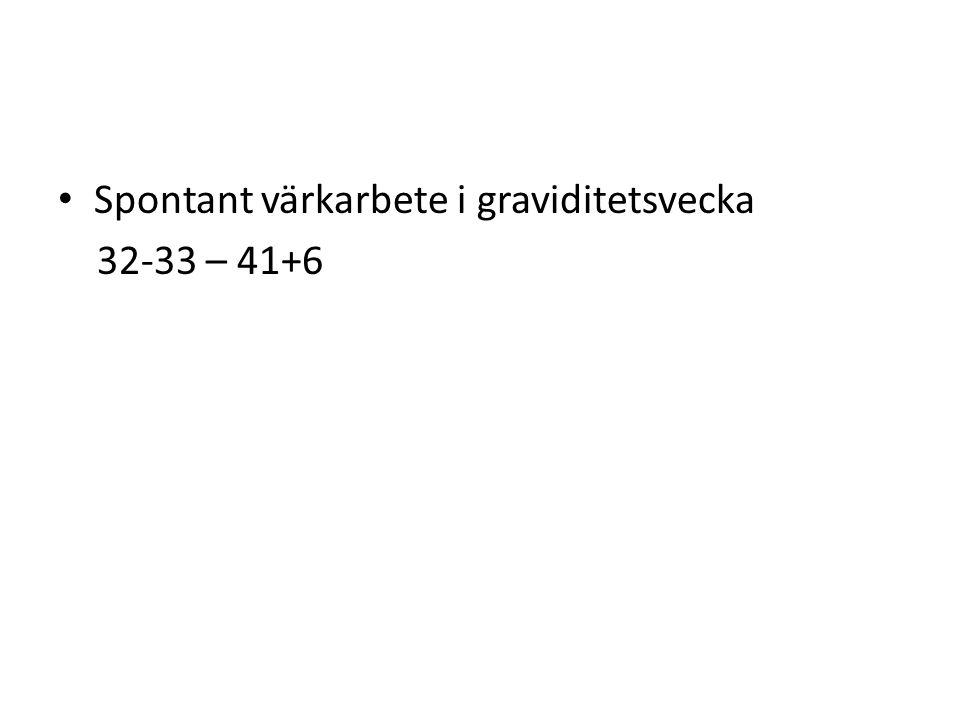 Spontant värkarbete i graviditetsvecka 32-33 – 41+6