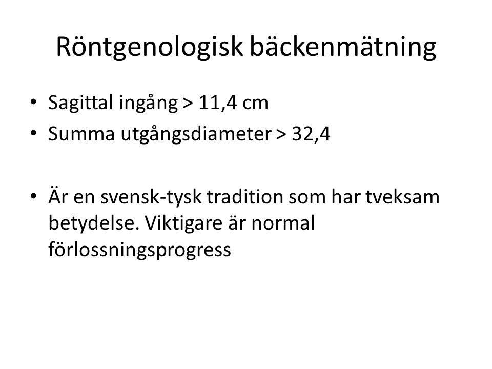 Röntgenologisk bäckenmätning Sagittal ingång > 11,4 cm Summa utgångsdiameter > 32,4 Är en svensk-tysk tradition som har tveksam betydelse. Viktigare ä