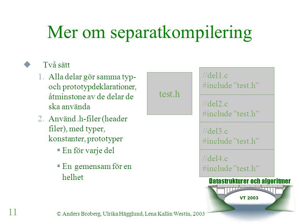 Datastrukturer och algoritmer VT 2003 11 © Anders Broberg, Ulrika Hägglund, Lena Kallin Westin, 2003 11 Mer om separatkompilering  Två sätt 1.Alla delar gör samma typ- och prototypdeklarationer, åtminstone av de delar de ska använda 2.Använd.h-filer (header filer), med typer, konstanter, prototyper  En för varje del  En gemensam för en helhet test.h //del1.c #include test.h //del2.c #include test.h //del3.c #include test.h //del4.c #include test.h
