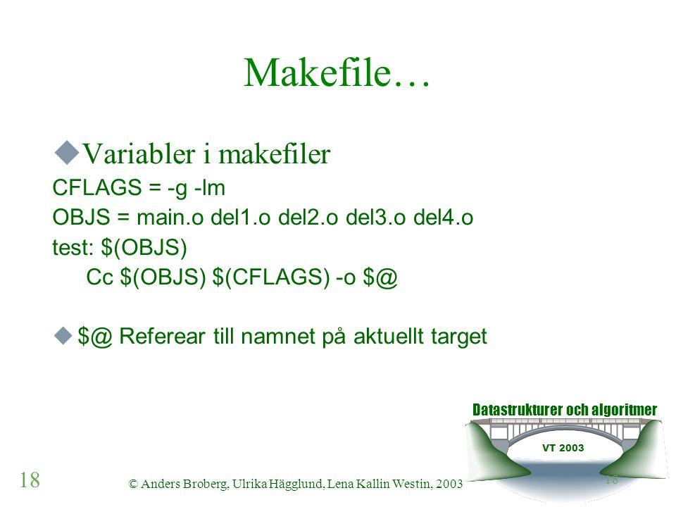 Datastrukturer och algoritmer VT 2003 18 © Anders Broberg, Ulrika Hägglund, Lena Kallin Westin, 2003 18 Makefile…  Variabler i makefiler CFLAGS = -g -lm OBJS = main.o del1.o del2.o del3.o del4.o test: $(OBJS) Cc $(OBJS) $(CFLAGS) -o $@  $@ Referear till namnet på aktuellt target