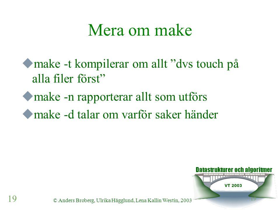 Datastrukturer och algoritmer VT 2003 19 © Anders Broberg, Ulrika Hägglund, Lena Kallin Westin, 2003 19 Mera om make  make -t kompilerar om allt dvs touch på alla filer först  make -n rapporterar allt som utförs  make -d talar om varför saker händer