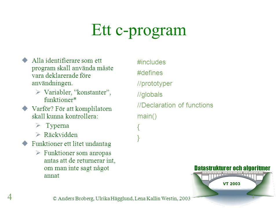 Datastrukturer och algoritmer VT 2003 4 © Anders Broberg, Ulrika Hägglund, Lena Kallin Westin, 2003 4 Ett c-program  Alla identifierare som ett program skall använda måste vara deklarerade före användningen.