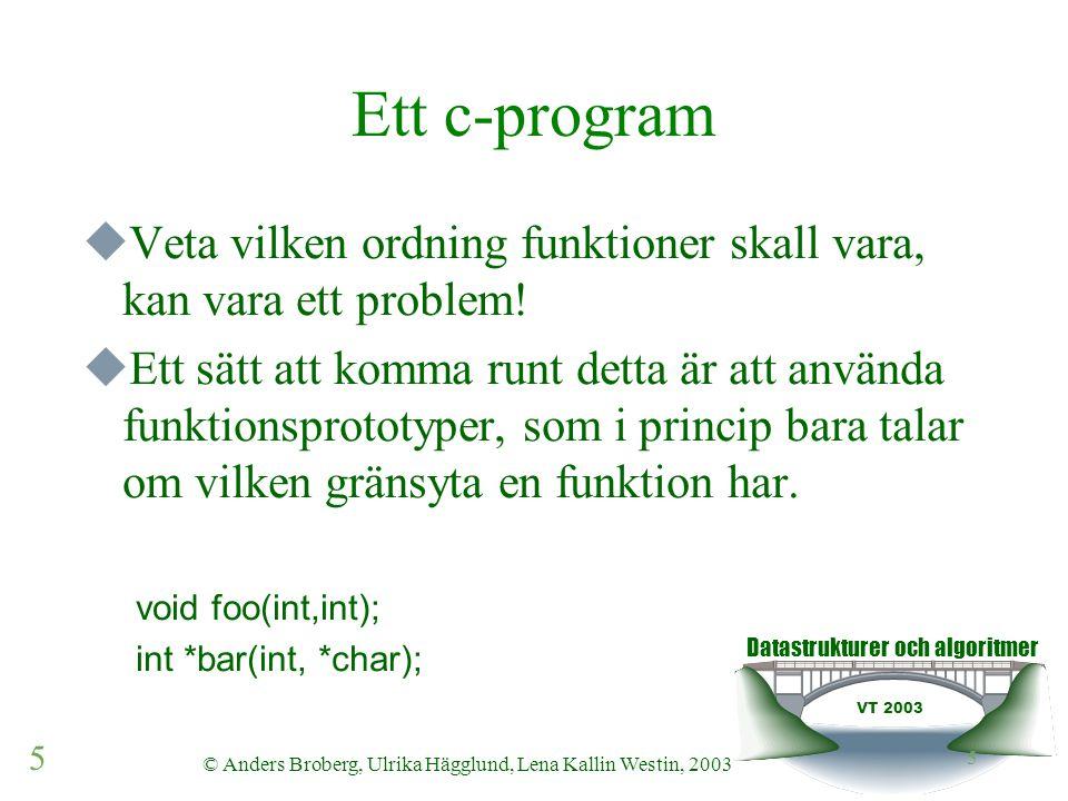 Datastrukturer och algoritmer VT 2003 5 © Anders Broberg, Ulrika Hägglund, Lena Kallin Westin, 2003 5 Ett c-program  Veta vilken ordning funktioner skall vara, kan vara ett problem.