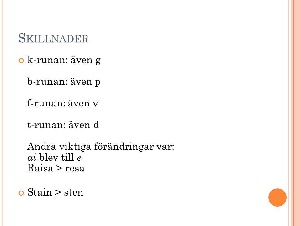 S KILLNADER k-runan: även g b-runan: även p f-runan: även v t-runan: även d Andra viktiga förändringar var: ai blev till e Raisa > resa Stain > sten