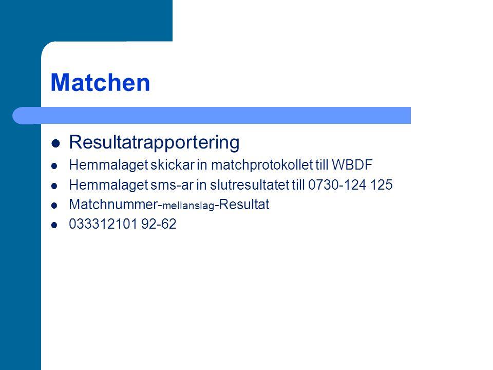 Matchen Resultatrapportering Hemmalaget skickar in matchprotokollet till WBDF Hemmalaget sms-ar in slutresultatet till 0730-124 125 Matchnummer- mellanslag -Resultat 033312101 92-62