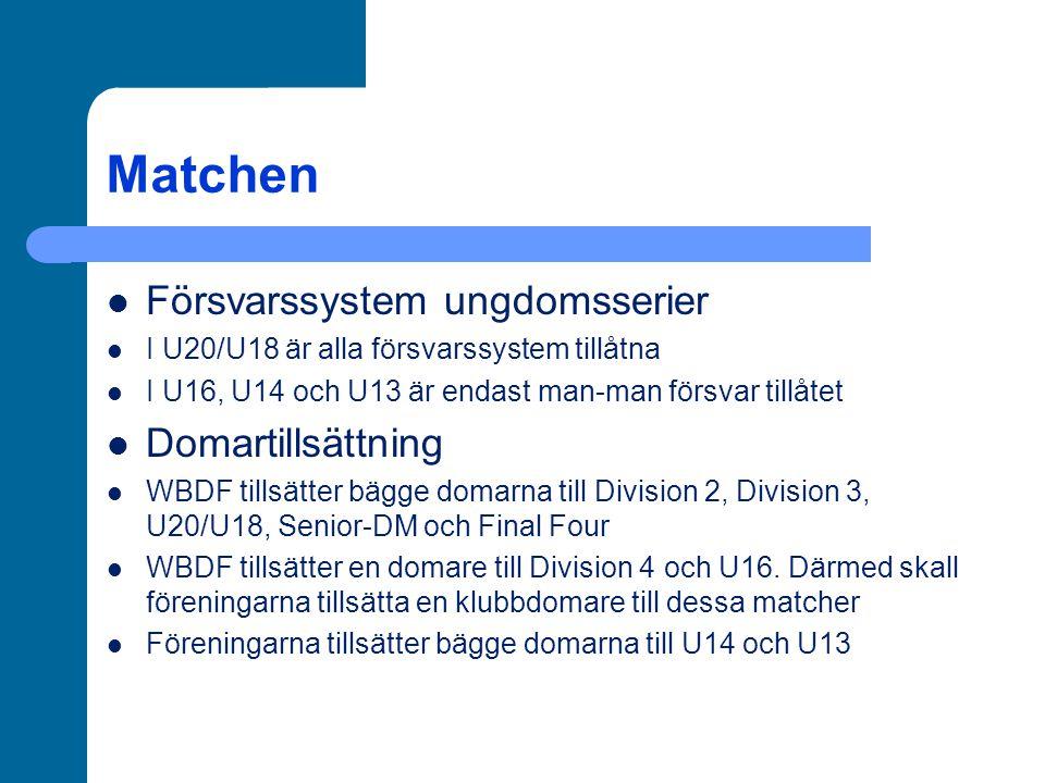 Matchen Försvarssystem ungdomsserier I U20/U18 är alla försvarssystem tillåtna I U16, U14 och U13 är endast man-man försvar tillåtet Domartillsättning WBDF tillsätter bägge domarna till Division 2, Division 3, U20/U18, Senior-DM och Final Four WBDF tillsätter en domare till Division 4 och U16.