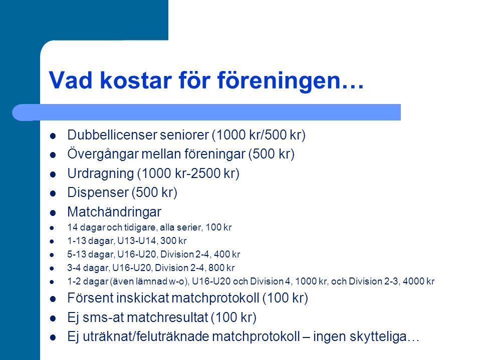 Vad kostar för föreningen… Dubbellicenser seniorer (1000 kr/500 kr) Övergångar mellan föreningar (500 kr) Urdragning (1000 kr-2500 kr) Dispenser (500 kr) Matchändringar 14 dagar och tidigare, alla serier, 100 kr 1-13 dagar, U13-U14, 300 kr 5-13 dagar, U16-U20, Division 2-4, 400 kr 3-4 dagar, U16-U20, Division 2-4, 800 kr 1-2 dagar (även lämnad w-o), U16-U20 och Division 4, 1000 kr, och Division 2-3, 4000 kr Försent inskickat matchprotokoll (100 kr) Ej sms-at matchresultat (100 kr) Ej uträknat/feluträknade matchprotokoll – ingen skytteliga…