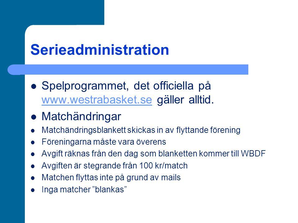 Serieadministration Licenser Alla lag måste ha en laglicens, administreras av föreningen via IdrottOnline-hemsidan När laget är registrerat, meddela WBDF som godkänner licensieringen (gäller även vid licensiering av enskilda spelare) Obegränsat antal ledare och spelare kan registreras Dubbellicensiering seniorserier Mellan huvudklubb och farmklubb Fyra spelare födda 1989 och senare