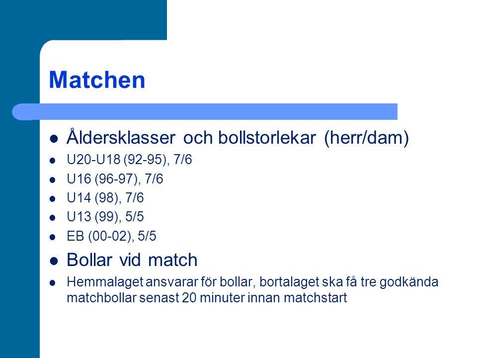 Matchen Åldersklasser och bollstorlekar (herr/dam) U20-U18 (92-95), 7/6 U16 (96-97), 7/6 U14 (98), 7/6 U13 (99), 5/5 EB (00-02), 5/5 Bollar vid match Hemmalaget ansvarar för bollar, bortalaget ska få tre godkända matchbollar senast 20 minuter innan matchstart