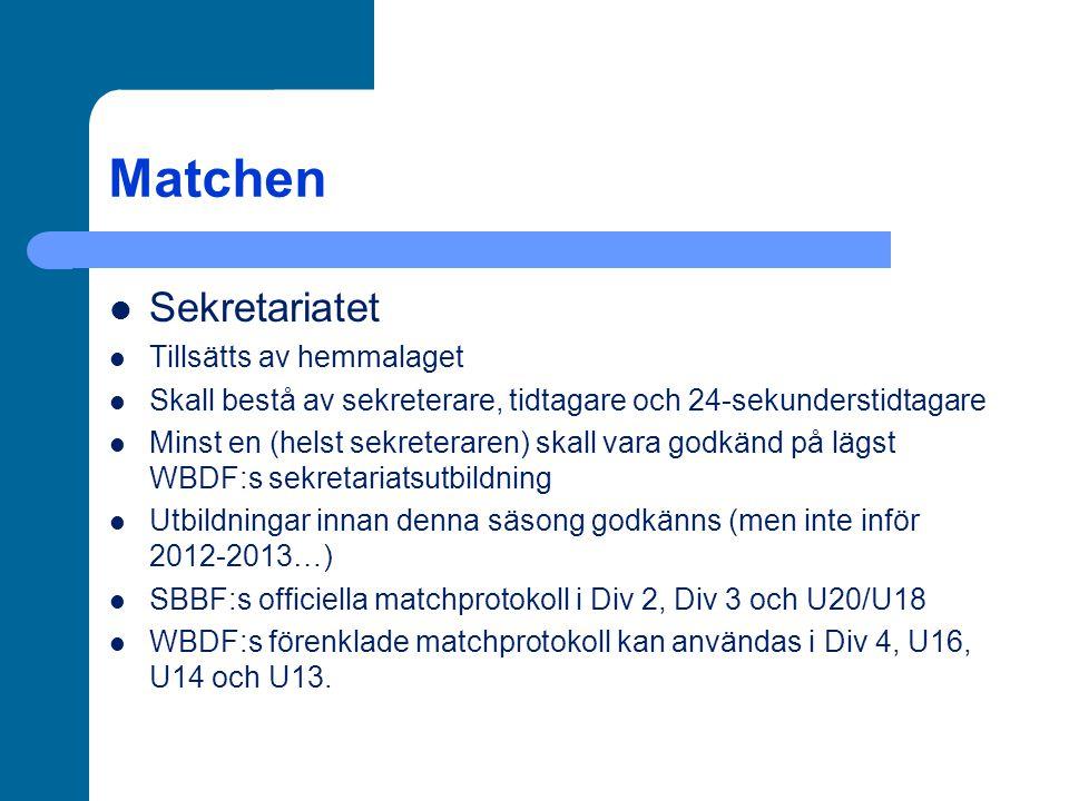 Matchen Sekretariatet Tillsätts av hemmalaget Skall bestå av sekreterare, tidtagare och 24-sekunderstidtagare Minst en (helst sekreteraren) skall vara godkänd på lägst WBDF:s sekretariatsutbildning Utbildningar innan denna säsong godkänns (men inte inför 2012-2013…) SBBF:s officiella matchprotokoll i Div 2, Div 3 och U20/U18 WBDF:s förenklade matchprotokoll kan användas i Div 4, U16, U14 och U13.