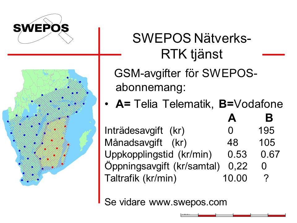GSM-avgifter för SWEPOS- abonnemang: A= Telia Telematik, B=Vodafone A B Inträdesavgift (kr) 0 195 Månadsavgift (kr) 48 105 Uppkopplingstid (kr/min) 0.