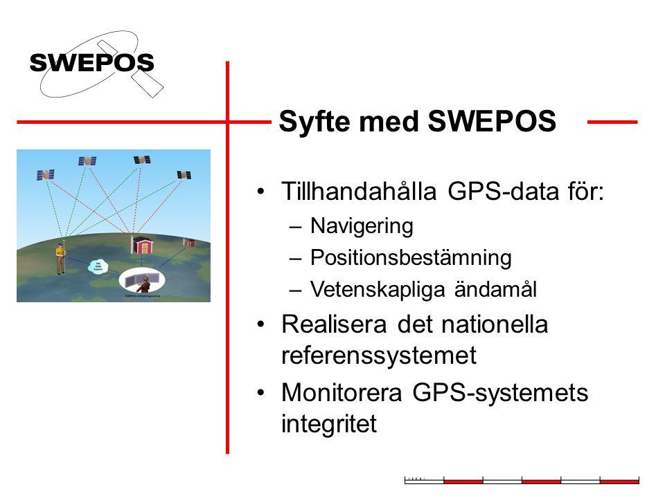 Syfte med SWEPOS Tillhandahålla GPS-data för: –Navigering –Positionsbestämning –Vetenskapliga ändamål Realisera det nationella referenssystemet Monitorera GPS-systemets integritet