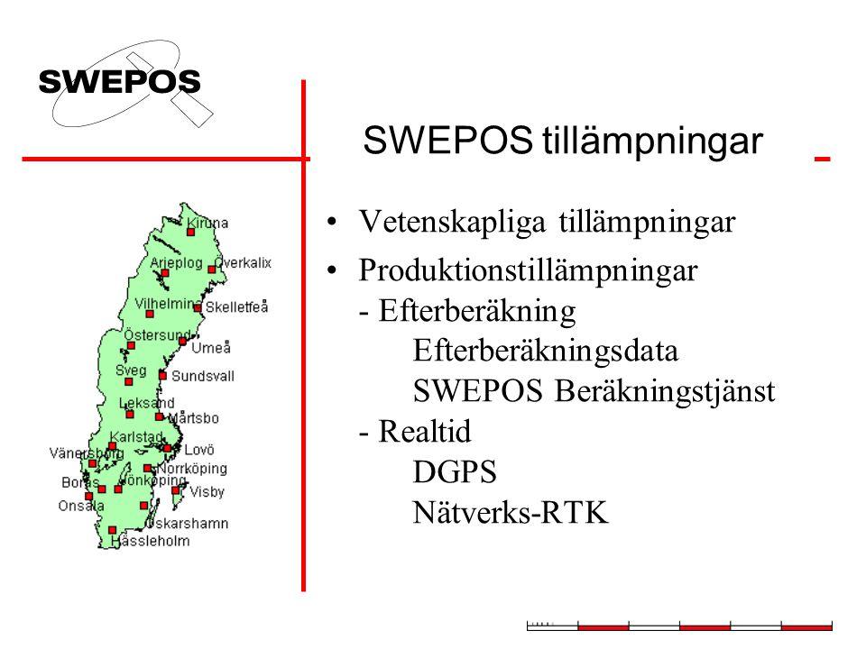 SWEPOS tillämpningar Vetenskapliga tillämpningar Produktionstillämpningar - Efterberäkning Efterberäkningsdata SWEPOS Beräkningstjänst - Realtid DGPS Nätverks-RTK