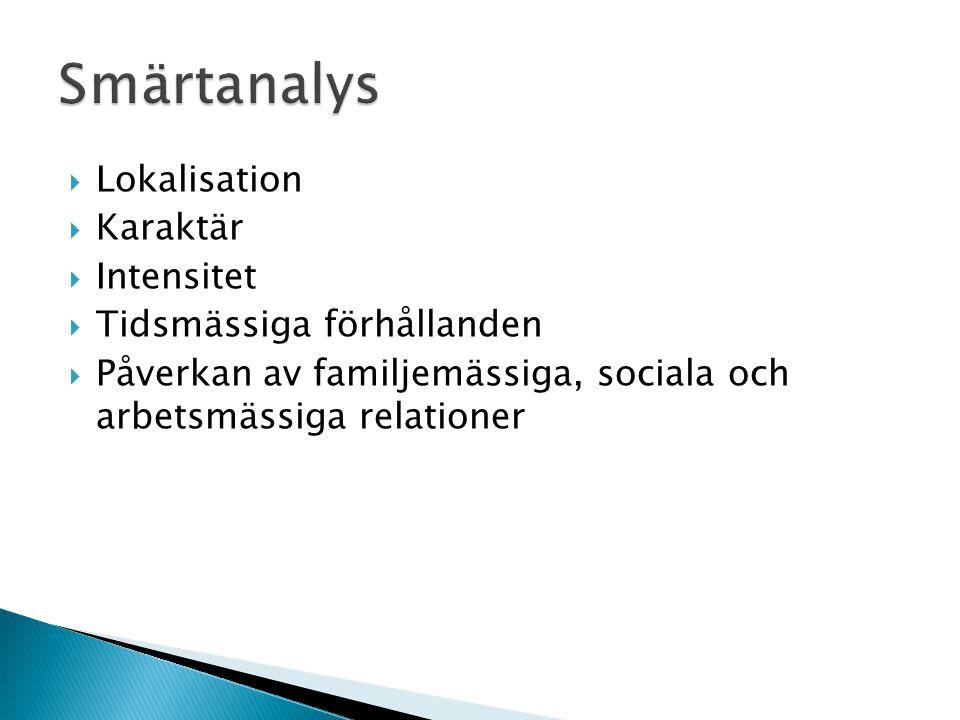  Lokalisation  Karaktär  Intensitet  Tidsmässiga förhållanden  Påverkan av familjemässiga, sociala och arbetsmässiga relationer