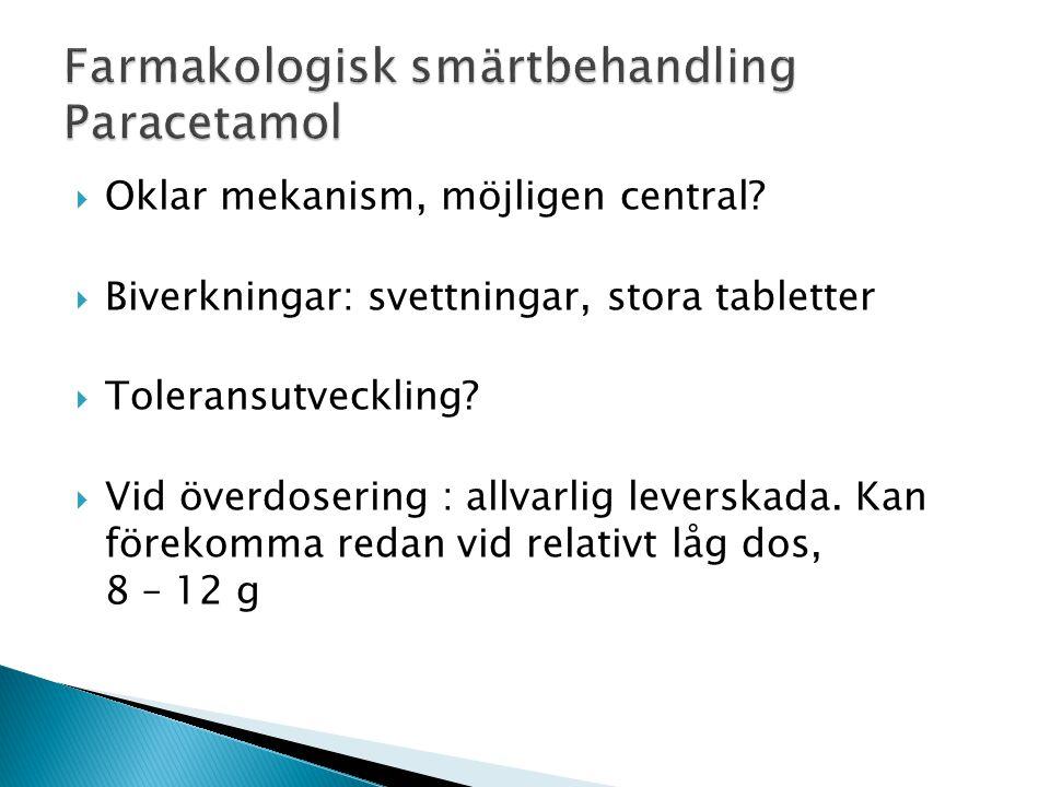  Oklar mekanism, möjligen central?  Biverkningar: svettningar, stora tabletter  Toleransutveckling?  Vid överdosering : allvarlig leverskada. Kan