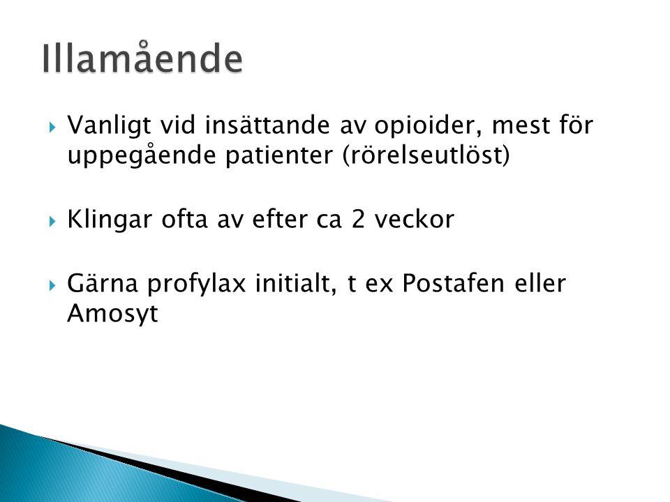  Vanligt vid insättande av opioider, mest för uppegående patienter (rörelseutlöst)  Klingar ofta av efter ca 2 veckor  Gärna profylax initialt, t e
