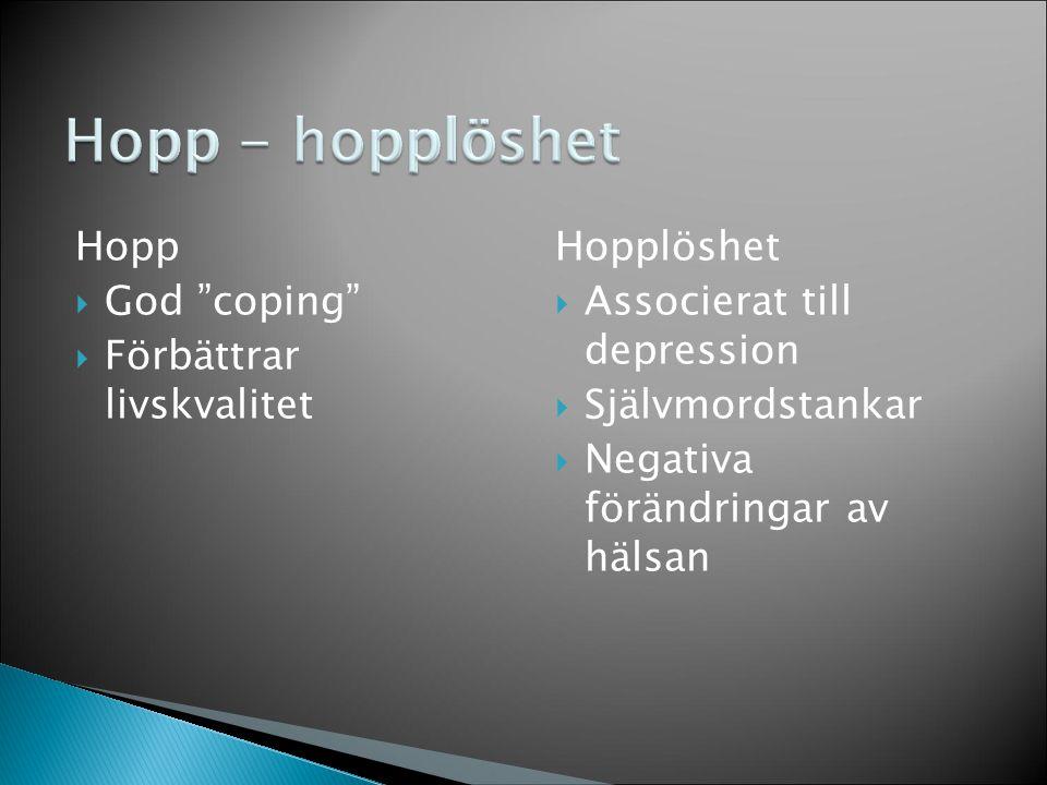 """Hopp  God """"coping""""  Förbättrar livskvalitet Hopplöshet  Associerat till depression  Självmordstankar  Negativa förändringar av hälsan Hopp - hopp"""