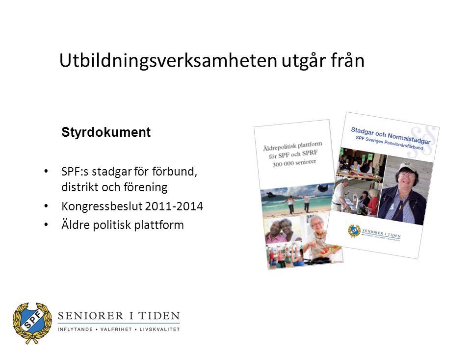 Utbildningsverksamheten utgår från Styrdokument SPF:s stadgar för förbund, distrikt och förening Kongressbeslut 2011-2014 Äldre politisk plattform