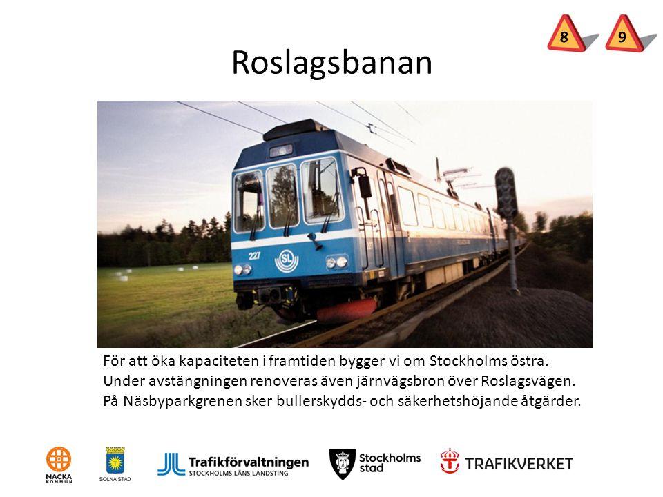 Roslagsbanan För att öka kapaciteten i framtiden bygger vi om Stockholms östra. Under avstängningen renoveras även järnvägsbron över Roslagsvägen. På