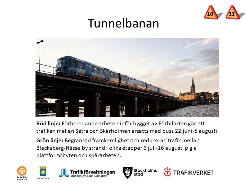 Tunnelbanan Röd linje: Förberedande arbeten inför bygget av Förbifarten gör att trafiken mellan Sätra och Skärholmen ersätts med buss 22 juni-5 august