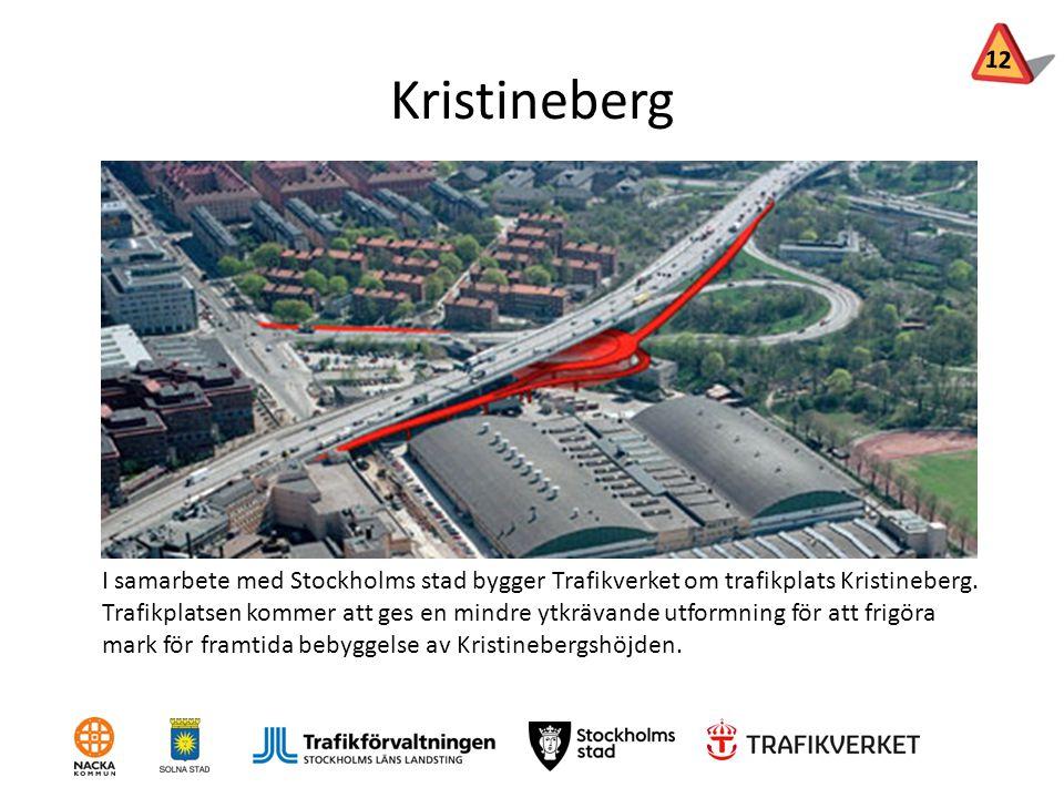 Kristineberg I samarbete med Stockholms stad bygger Trafikverket om trafikplats Kristineberg. Trafikplatsen kommer att ges en mindre ytkrävande utform