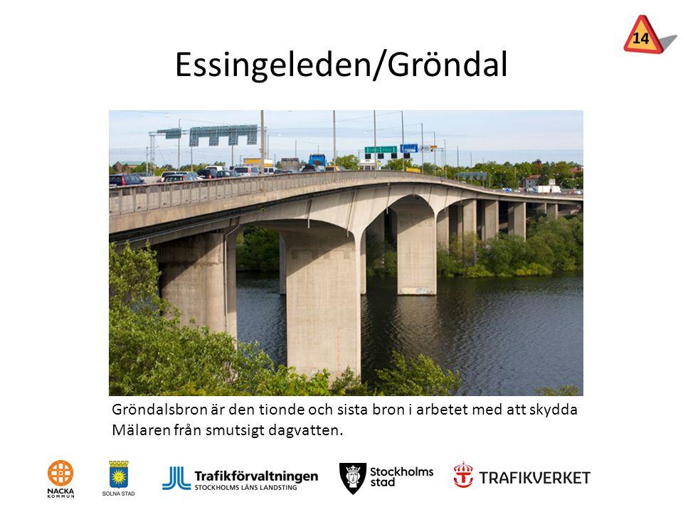 Essingeleden/Gröndal Gröndalsbron är den tionde och sista bron i arbetet med att skydda Mälaren från smutsigt dagvatten. 14