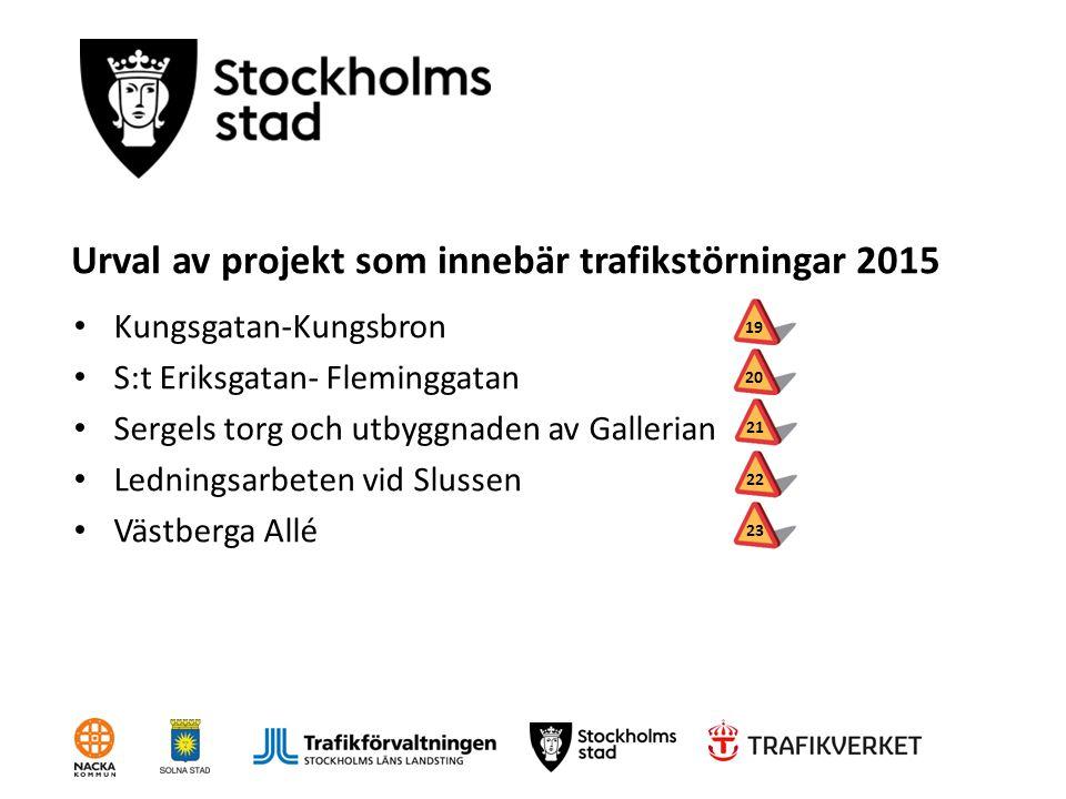 Urval av projekt som innebär trafikstörningar 2015 Kungsgatan-Kungsbron S:t Eriksgatan- Fleminggatan Sergels torg och utbyggnaden av Gallerian Ledning