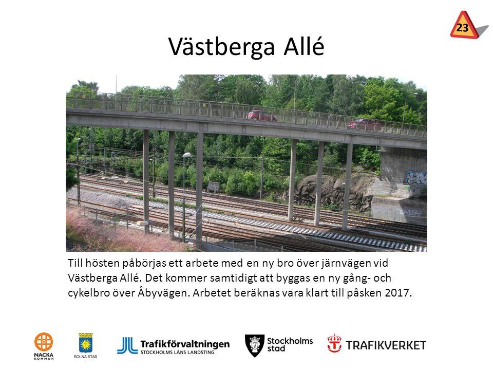 Västberga Allé Till hösten påbörjas ett arbete med en ny bro över järnvägen vid Västberga Allé. Det kommer samtidigt att byggas en ny gång- och cykelb
