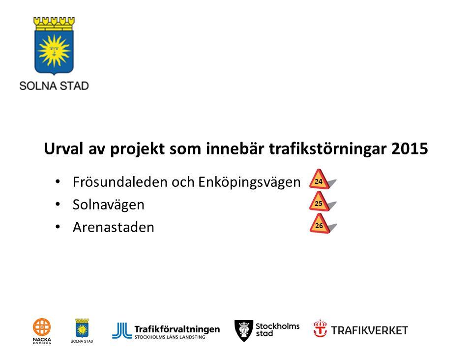 Urval av projekt som innebär trafikstörningar 2015 Frösundaleden och Enköpingsvägen Solnavägen Arenastaden 2425 26