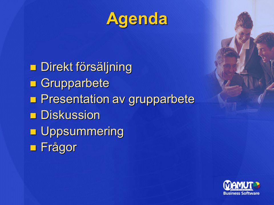 Agenda Direkt försäljning Direkt försäljning Grupparbete Grupparbete Presentation av grupparbete Presentation av grupparbete Diskussion Diskussion Uppsummering Uppsummering Frågor Frågor