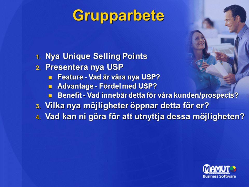 Grupparbete 1.Nya Unique Selling Points 2. Presentera nya USP Feature - Vad är våra nya USP.
