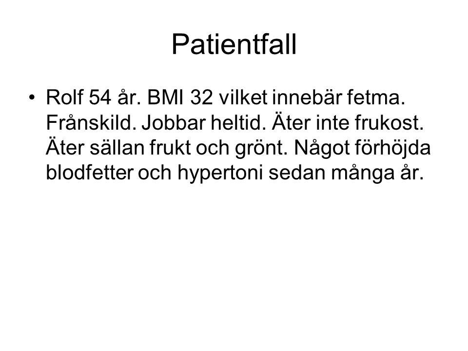 Patientfall Rolf 54 år. BMI 32 vilket innebär fetma. Frånskild. Jobbar heltid. Äter inte frukost. Äter sällan frukt och grönt. Något förhöjda blodfett