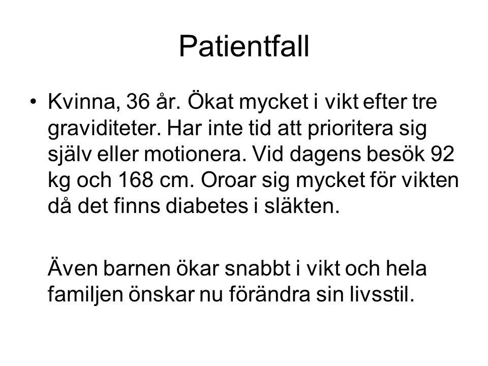 Patientfall Kvinna, 36 år. Ökat mycket i vikt efter tre graviditeter. Har inte tid att prioritera sig själv eller motionera. Vid dagens besök 92 kg oc