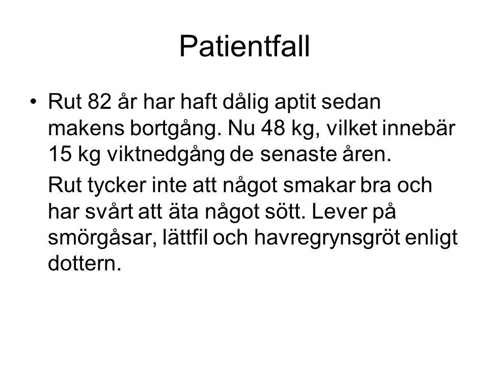 Patientfall Rut 82 år har haft dålig aptit sedan makens bortgång. Nu 48 kg, vilket innebär 15 kg viktnedgång de senaste åren. Rut tycker inte att någo
