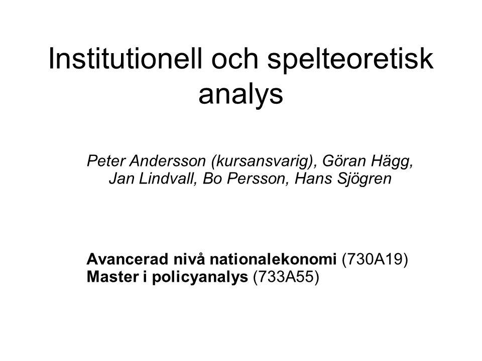 Institutionell och spelteoretisk analys Peter Andersson (kursansvarig), Göran Hägg, Jan Lindvall, Bo Persson, Hans Sjögren Avancerad nivå nationalekon